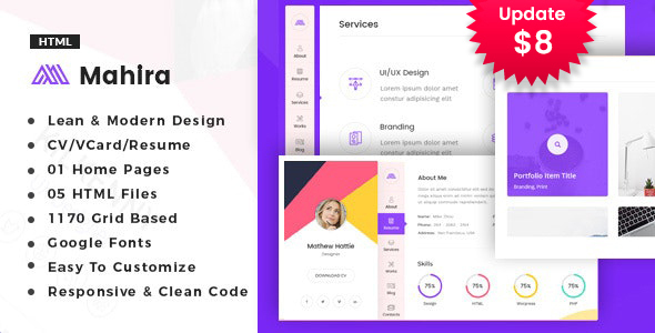 Mahira - vCard / CV / Resume / Portfolio