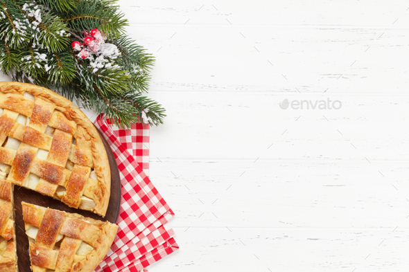 Christmas holiday greeting card with apple pie - Stock Photo - Images
