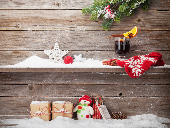 Christmas card with gift boxes and mulled wine - Stock Photo - Images