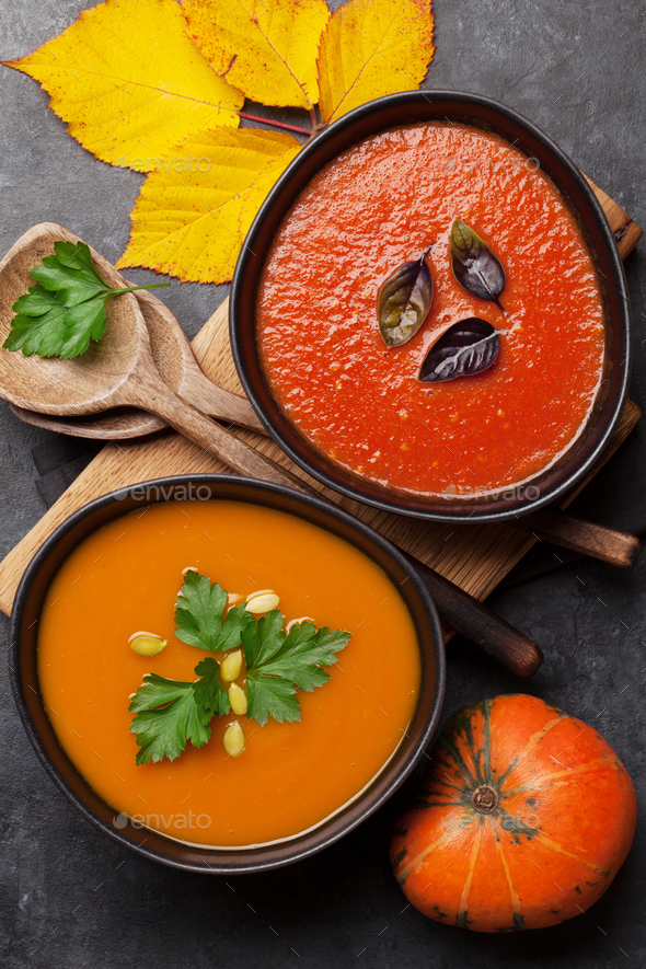 Tomato and pumpkin soup - Stock Photo - Images