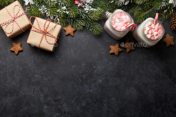 Traditional christmas cocktail with marshmallow - Stock Photo - Images