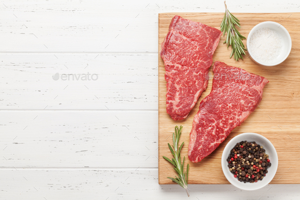 Raw marbled beef steak - Stock Photo - Images