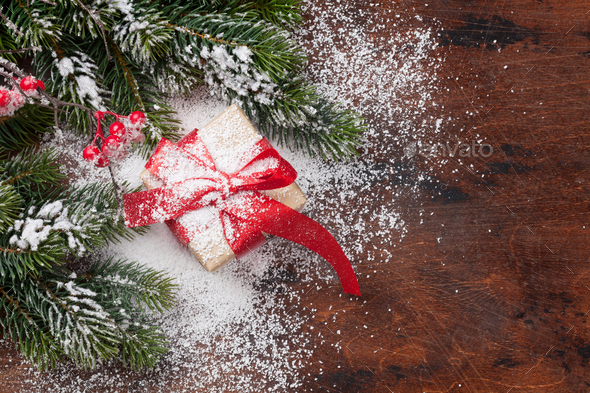 Christmas gift box and fir tree - Stock Photo - Images