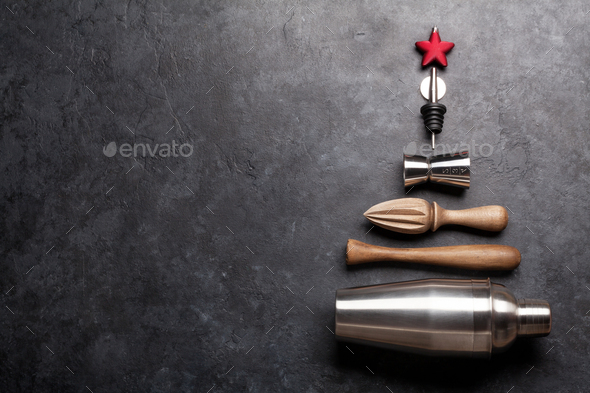Set of bar tools on stone table - Stock Photo - Images
