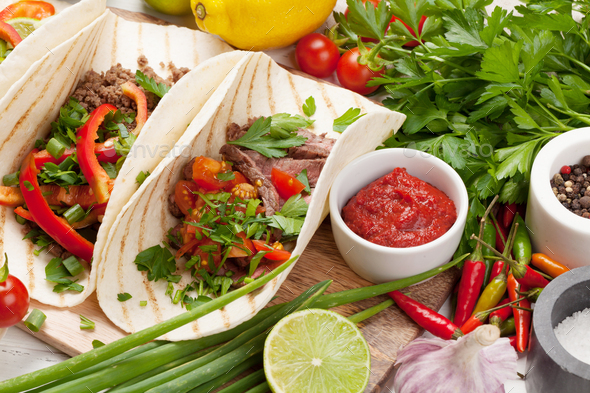 Mexican tacos cooking - Stock Photo - Images