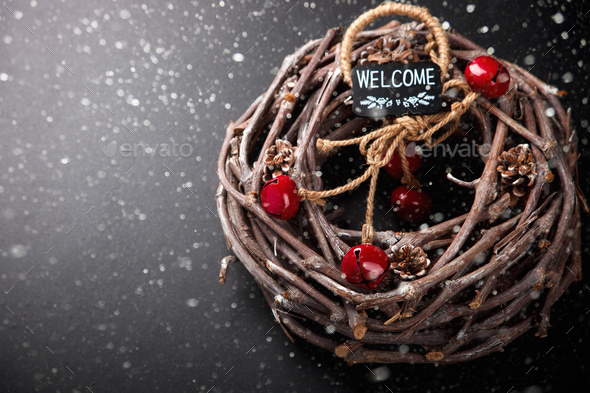 Christmas Wood Wreath with Natural Twigs - Stock Photo - Images