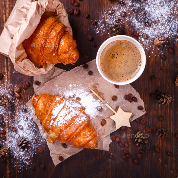 Christmas  Pastries Croissant - Stock Photo - Images