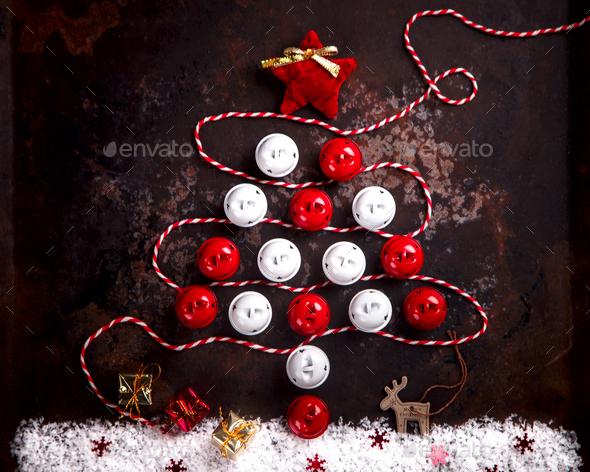 Stylized Design Christmas Tree with Xmas Toys, - Stock Photo - Images