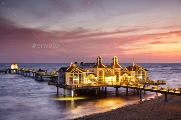 Sellin pier at sunrise - Stock Photo - Images