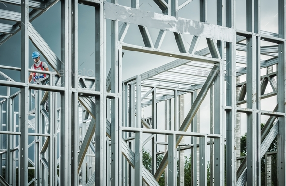 Steel House Frame Development - Stock Photo - Images