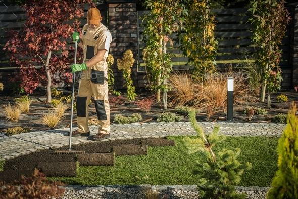New Garden Grass Turfs - Stock Photo - Images