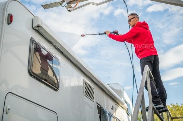 Post Season RV Washing - Stock Photo - Images