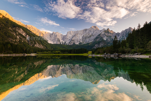 Panoramic View over Fusine Lake in Italy with Julian Alps in Bac - Stock Photo - Images