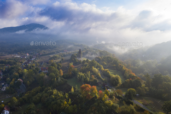 Aerial early morning view of Sovata town in autumn, Romania. - Stock Photo - Images