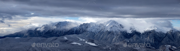Panoramic view of Bucegi Mountains, Carpathian Mountains - Stock Photo - Images