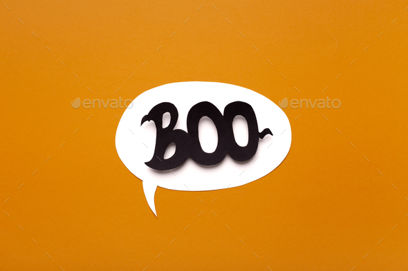 Creative Boo text inside speech bubble on Halloween background - Stock Photo - Images