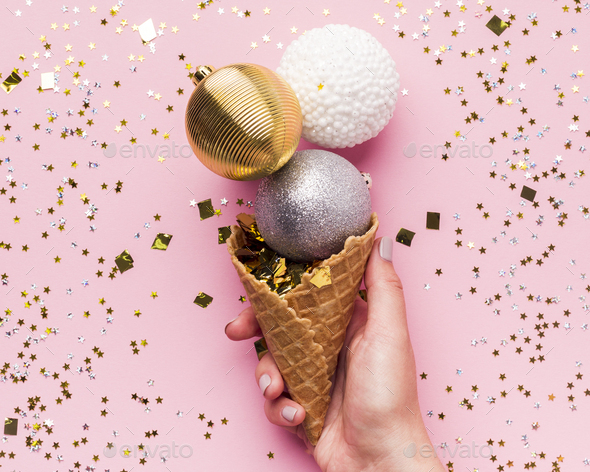 Close up of creative ice cream in waffle cone - Stock Photo - Images