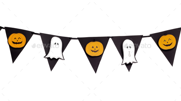 Halloween Decorative garland with cut of silhouettes - Stock Photo - Images