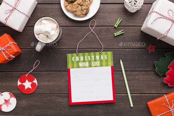 Christmas wish list with empty space for text - Stock Photo - Images