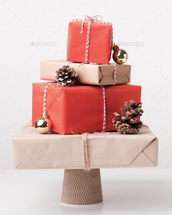 Christmas presents composition in shape of pine tree - Stock Photo - Images