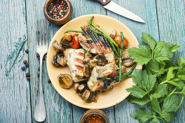Grilled steak and spices - Stock Photo - Images
