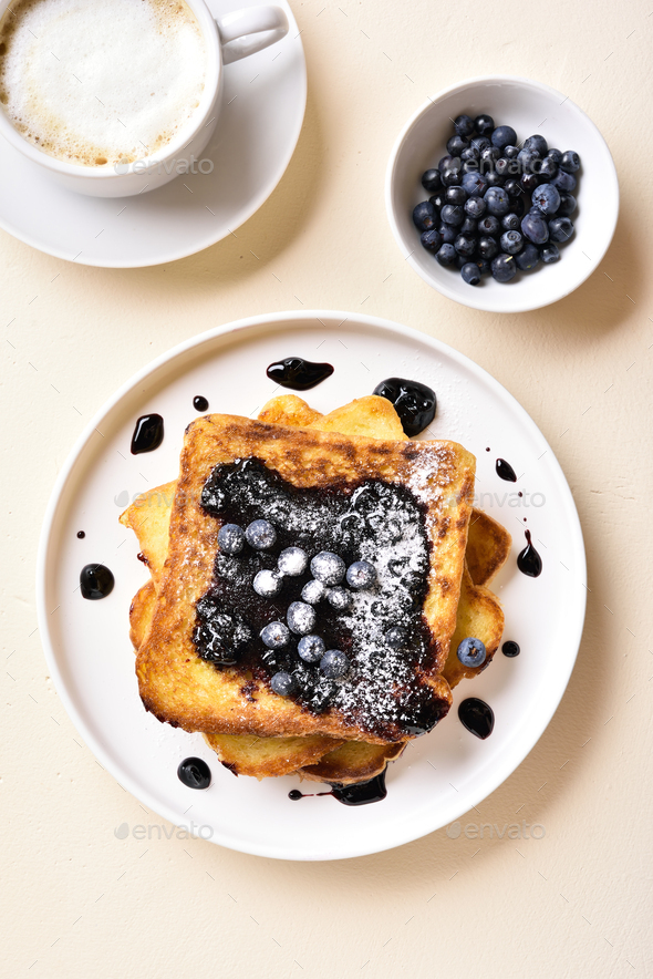 French toasts with blueberry sauce - Stock Photo - Images