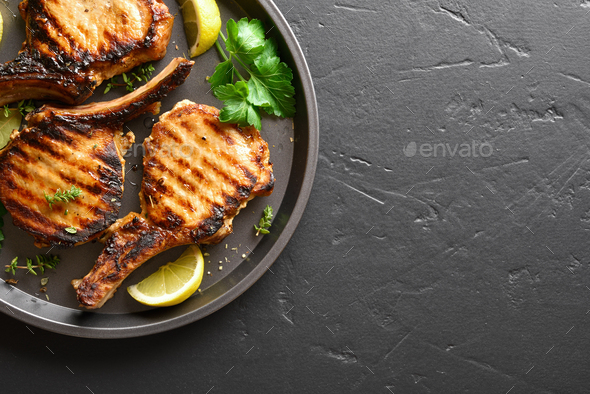 Grilled pork steaks - Stock Photo - Images