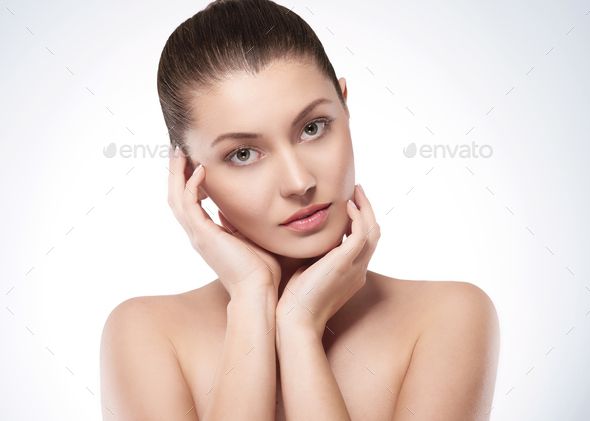 Beauty and natural woman in studio - Stock Photo - Images
