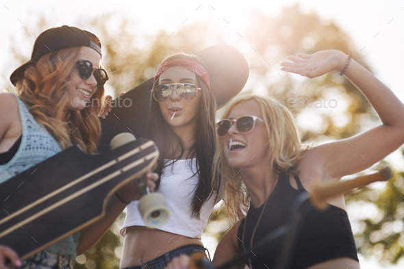 Cheerful teenagers in the skatepark - Stock Photo - Images