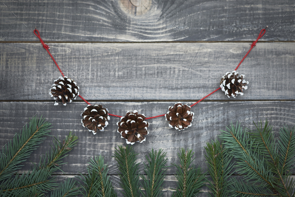 Christmas garland from the cones - Stock Photo - Images