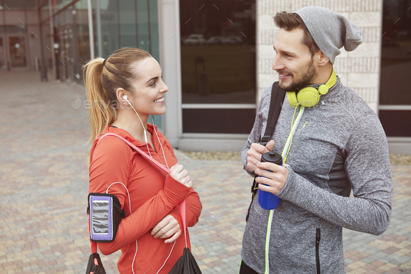 After the gym is time for little chat - Stock Photo - Images