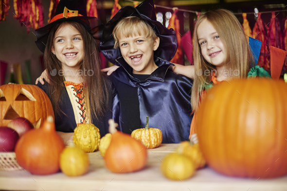 Group of best friends at the Halloween party - Stock Photo - Images