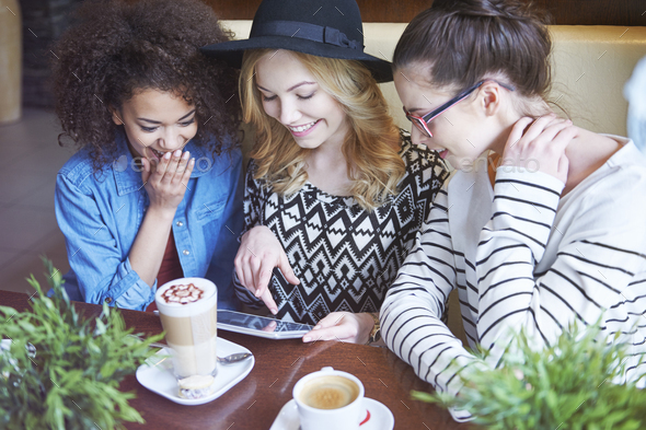 Wireless internet at the cafe - Stock Photo - Images