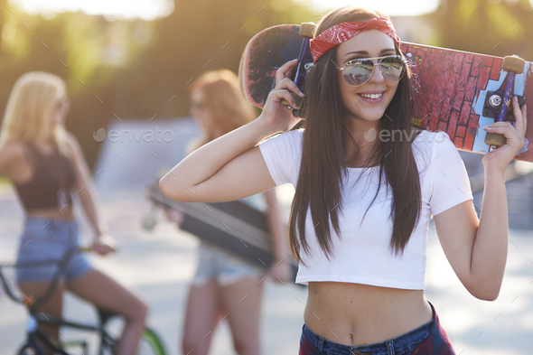 I can spend in the skatepark all day - Stock Photo - Images
