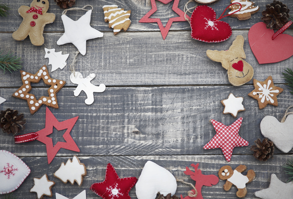 Abundance of cute christmas ornaments - Stock Photo - Images