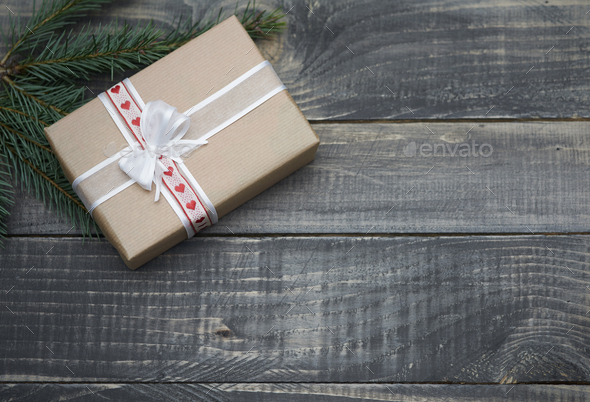 Natural christmas gifts on wood - Stock Photo - Images