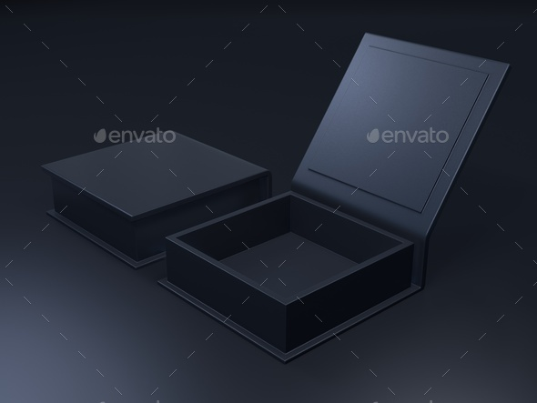 Black blank cardboard box on a dark background. 3d rendering - Stock Photo - Images