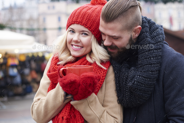 Couple in love and red cup of coffee - Stock Photo - Images