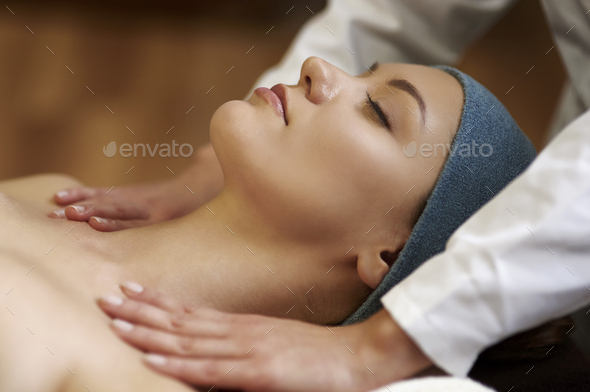 Relaxed during a very nice massage - Stock Photo - Images