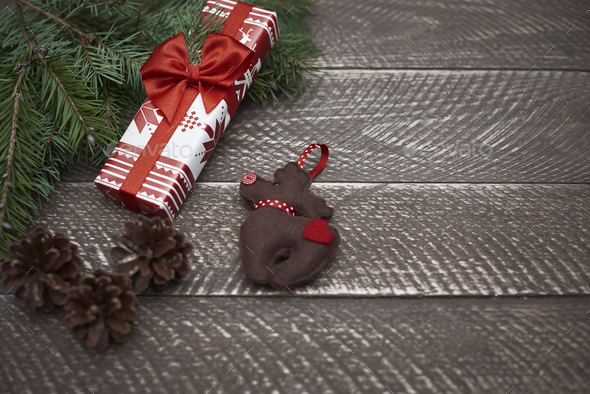 Natural plank and christmas ornaments - Stock Photo - Images