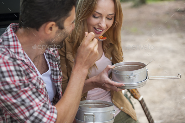 Camping food can be really delicious - Stock Photo - Images
