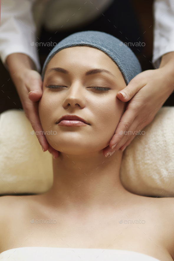 Face massage is very relaxing - Stock Photo - Images
