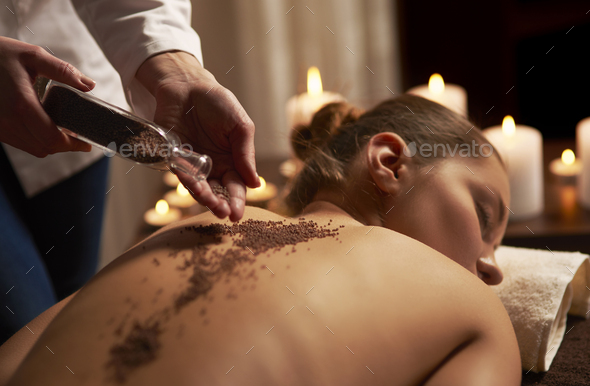 Massage with use of many minerals - Stock Photo - Images