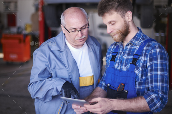 New technology in they workshop - Stock Photo - Images