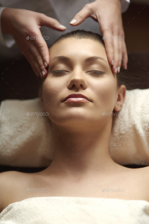 Head massage is very relaxing - Stock Photo - Images