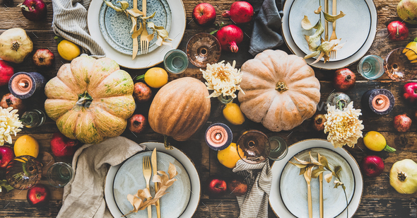 Table setting for Thanksgiving day or family dinner, wide composition - Stock Photo - Images