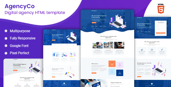AgencyCo - Digital Agency and Marketing Template by ThemeTags