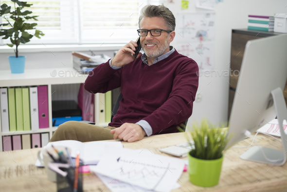 Man during a break at work - Stock Photo - Images