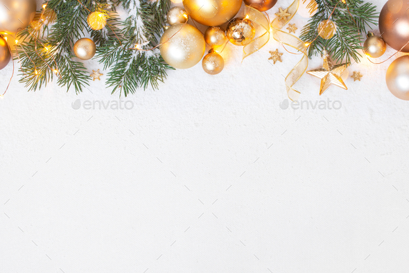 White Christmas Background with Fir Branches and Golden Decoration