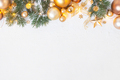 White Christmas Background with Fir Branches and Golden Decoration - PhotoDune Item for Sale